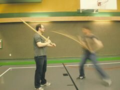 Students practise their moves at Cody Skillen's German longsword fencing class at Lord Roberts Community Centre.
