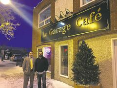 Le Classique street hockey tournament co-founder Rob Tétrault (left) and Ray Beaudry, owner of Le Garage Café, pose outside Beaudry's bar and restaurant, which will play host to the competition in February.