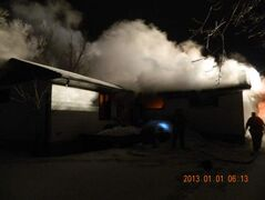 The fire broke out at about 4:30 a.m. Tuesday in Gimli.