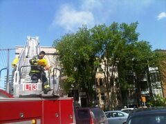Firefighters battle a blaze in an apartment building on Edmonton Street Tuesday.