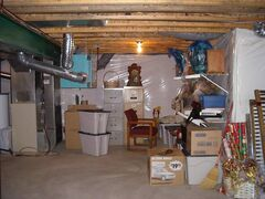This 'before' photo depicts the basement prior to an extensive renovation.