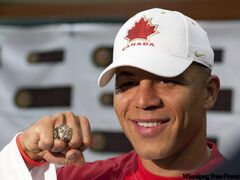 Jarome Iginla, with Olympic ring