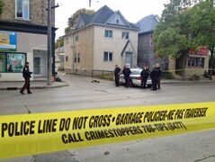 Police investigate a shooting at Sargent Avenue and Langside Street, the second shooting in the area on Saturday.