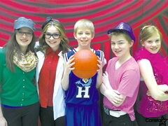 From left to right: Sarah Ross, Paige Prescott, Trent Favoni-Grossart, Ethan Fortier and Lexi Pavlick during rehearsals for Disney's High School Musical Jr. at Highbury School.