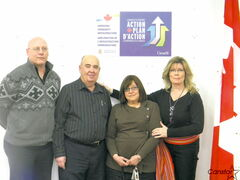 From Left to right: Teen Stop Jeunesse's executive director Patrick LeBlanc, TSJ's board vice-president Roland Johnson, Morrow Avenue Child Care executive director Bonnie Ash and MP Shelly Glover (St. Boniface).