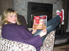 Marla Paul-Merasty, pictured with a copy of her first book Chuck The Different Vampire, is also wearing a pair of her title character's trademark running shoes.