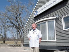 Dr. Bob Spice in front of the Charleswood Veterinary Clinic on Roblin Boulevard is looking forward to expanding their services onto the adjacent lot.