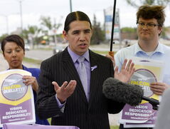 LOCAL - photo radar - Ouellette  WHO: Robert-Falcon Ouellette WHERE: Corner of Grant and Nathaniel .WHEN: Friday, June 20, 11:30 a.m. WHAT: Policy announcement on photo radar from mayoral candidate. Story by Aldo SantinJune 20 2014 / KEN GIGLIOTTI / WINNIPEG FREE PRESS