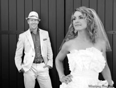 Jon Montgomery and Darla Deschamps on their wedding day in Kelowna, B.C.
