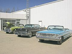 Ford Victoria, Monarch Richelieu, Galaxie 500 XL on display out side Treherne Ford dealership.