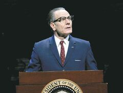 Bryan Cranston portrays U.S. President Lyndon B. Johnson during a performance of All the Way. Audra McDonald became the show's most decorated actress while Bryan Cranston won a best actor trophy for his Broadway debut at the 68th annual Tony Awards, on Sunday, June 8, 2014.