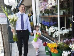 Ontario Conservative Party Leader Tim Hudak buys flowers for Mothers Day with his daughter Miller at Growers Flower Market on Avenue Rd. in Toronto on Sunday, May 11, 2014. THE CANADIAN PRESS/Aaron Vincent Elkaim