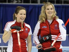 Team Canada third Kaitlyn Lawes (left) and skip Jennifer Jones smile during their match against Newfoundland in the afternoon draw at the 2011 Tournament of Hearts in Charlottetown, PEI on Tuesday.