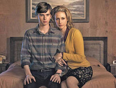 Freddie Highmore (left) plays the infamous Norman Bates as a teenager and Vera Farmiga plays his mother in the 10-part series,