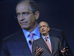 FILE - In this June 11, 2013 file photo, Comcast Corp. CEO Brian Roberts speaks during The Cable Show 2013 convention in Washington. Roberts was the tenth highest paid CEO in 2013 at $31.4 million, as calculated by The Associated Press and Equilar, an executive pay research firm. (AP Photo/Susan Walsh, File)