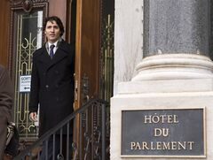 Federal Liberal Leader Justin Trudeau leaves the Quebec legislature after he met the opposition leaders, Thursday, April 18, 2013 in Quebec city. THE CANADIAN PRESS/Clement Allard