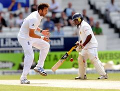 England's Liam Plunkett drops the ball after attempting to catch and bowl Sri Lanka's Angelo Mathews during day four of the Second Test Match between England and Sri Lanka at Headingley cricket ground, Leeds, England, on Monday, June 23, 2014. (AP Photo/Rui Vieira)