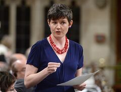 NDP environment critic Megan Leslie speaks in the House of Commons on May 29, 2014. Public-opinion research for the federal Finance Department suggests key government policies are out of step with Canadians' priorities, including the Northern Gateway project. THE CANADIAN PRESS/Sean Kilpatrick