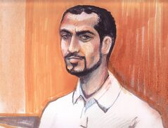 Omar Khadr appears in an Edmonton courtroom, Monday, Sept.23, 2013 in this artist's sketch. Alberta's top court has granted an application by former Guantanamo Bay detainee Khadr to be transferred to a provincial jail. THE CANADIAN PRESS/Amanda McRoberts