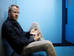 Matt Berninger, lead singer for The National, poses for a photo to promote the band's new album released later this month