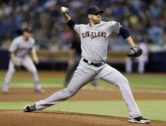 Cleveland Indians starting pitcher Zach McAllister delivers to Tampa Bay Rays' Ben Zobrist during the first inning of a baseball game Saturday, May 10, 2014, in St. Petersburg, Fla. (AP Photo/Chris O'Meara)