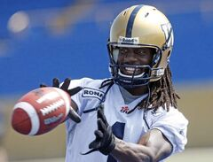 Kito Poblah of the Winnipeg Blue Bombers practices at Canad Inn Stadium Wednesday.