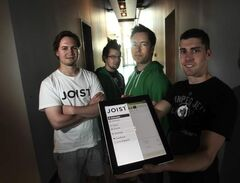 Justin Kathan (from left), Nathan Bertram, Michael Gauthier and Brendon Sedo show their app, called Joist. They expect a revenue stream soon.