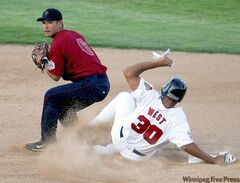 Winnipeg's Kevin West  tries to break up a double play throw by Lake County's Joseph Ramos;