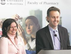 Kris Thorkelson, with his wife, Maryanne, when he donated $500,000 several years ago to the University of Manitoba pharmacy program. A lab was named in his honour.