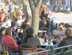 The patio at Bar Italia on Corydon Avenue is a popular venue for relaxing with friends.