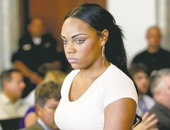 Shayanna Jenkins, Aaron Hernandez's girlfriend, arrives at Attleboro District Courtroom Wednesday.