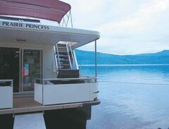 The Prairie Princess, which accommodates 10 to 12 people, docks at Hungry Cove for the night.