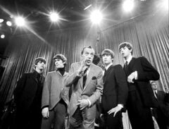 Generational change as Ed Sullivan introduces the Beatles in February 1964.