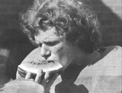 A yearbook photo shows a thinner and hairier Doug Speirs gobbling down watermelon after football practice in 1973.