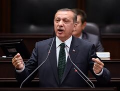 Turkish Prime Minister Recep Tayyip Erdogan addresses his supporters and lawmakers at the parliament in Ankara, Turkey, Tuesday, June 25, 2013.(AP Photo)
