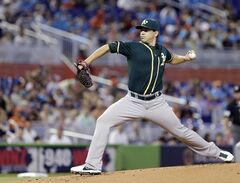 Oakland Athletics' Tommy Milone delivers a pitch during the first inning of a baseball game against the Miami Marlins, Sunday, June 29, 2014 in Miami. (AP Photo/Wilfredo Lee)