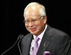 FILE - In this May 22, 2014, file photo, Malaysian Prime Minister Najib Razak delivers a keynote speech at the 20th International Conference on The Future of Asia in Tokyo. Razak on Thursday, July 10, 2014, chided a ruling party lawmaker for tweeting a salute to Adolf Hitler while praising Germany for making it to the World Cup final. (AP Photo/Koji Sasahara, File)