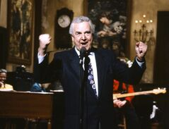 This March 14, 1992 photo provided by NBC shows announcer Don Pardo on the set of