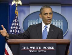 President Barack Obama speaks in the Brady Press Briefing room of the White House in Washington, Friday.