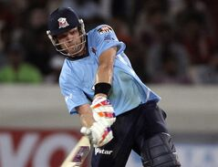 FILE - In this Sept. 20, 2011 file photo, then Auckland player Lou Vincent plays a shot during the Champions League Twenty20 cricket qualifying match between Somerset and Auckland in Hyderabad, India. Former New Zealand batsman Vincent is facing a life ban from cricket after publicly admitting to years of involvement in match fixing. (AP Photo/Mahesh Kumar A., File)