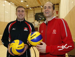 Former U of M Bison and Team Canada setters Mike Munday (left) and Scott Koskie have retired from pro­fessional play and will start helping Winni­peg youngsters improve their volleyball skills.