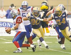 Quarterback Anthony Calvillo and his Montreal teammates handed the Blue Bombers their fifth loss of the young season Friday night, deepening the despair in Winnipeg.