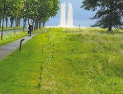 An electrical fence keeps visitors from straying too far from the path to the Vimy monument. Unexploded shells from the First World War are still a problem in many parts of Belgium and northwest France.