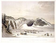 Cornelius Krieghoff's 1853 painting The Ice Cone at the Falls of Montmorency near Quebec, showing the famous sugarloaf mountain at the base of the falls and general winter merriment.