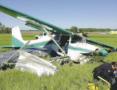 RCMP on the scene of Tuesday morning's crash near Lac du Bonnet involving a Cessna float plane.