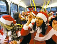 Ho ho hold on: Some SantaCon participants are getting a little too filled with Christmas cheer.
