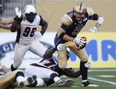 Blue Bombers QB Drew Willy absorbed heavy punishment Thursday night.