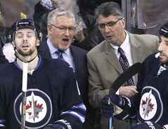 Winnipeg Jets head coach Claude Noel (right) and assistant coach Perry Pearn, both were fired mid-season.