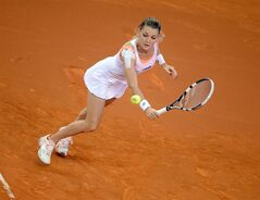 Poland's top seed Agnieszka Radwanska returns the ball to Russia's Maria Sharapova during their quarterfinal match at the Porsche tennis Grand Prix in Stuttgart, Germany, Friday, April 25, 2014. Sharapova won the match with 6-4 and 6-3. (AP Photo/dpa, Daniel Maurer)