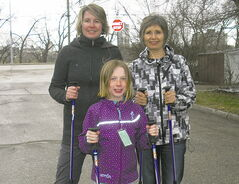 Lori Hildebrandt (back left) and her family are huge advocates of Nordic walking.